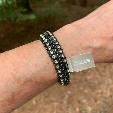Chicos Chico's Rasa Bangle Bracelet White Crystal Gray Hematite Healing NEW