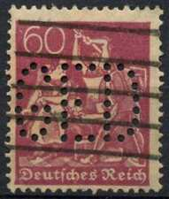 """Germany 1921 SG#160, 60pf Perfin """"GED"""" Used #D99984"""