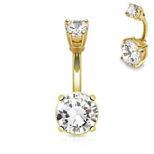 Navel Piercing Gold Stud CZ Zirconia Crystal Stone 316 L Surgical Steel