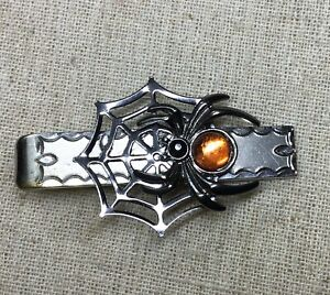 Steampunk tie clip- upcycled Vintage tie clip w/  Red Body Spider & Web