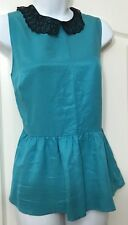 💜BNWT BEAUTIFUL LACE EDGED PEPLUM FITTED BLOUSE BODICE TOP SIZE 12