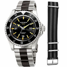 Men's Akribos XXIV AK1002TTB Quartz Diver Silver/Black Stainless Steel Watch Set