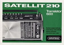 Operating Instructions User Manual Grundig Satellite 210, Transistor 6001