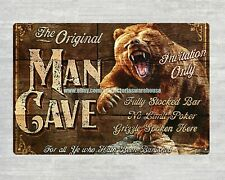 man cave bear metal tin sign cheap art prints