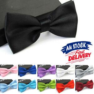 Mens Pretied Formal Necktie Wedding Party Black Red Boy Bow Tie Tuxedo Bowtie