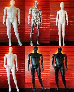 MALE/FEMALE WHITE/BLACK FACELESS HARD PLASTIC FULL BODY DISPLAY MANNEQUIN