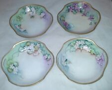 R S Germany 4 Small Berry Bowls Blue Mark 2 Handled Gold Trim Vintage HPainted