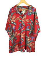 Vintage Paradise Found Mens Hawaiian Shirt Magnum PI Red Parrot Cotton Size 4XL