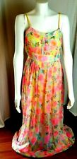 Esley Women's Pink Sleeveless Floral Watercolor Print Dress Size Large