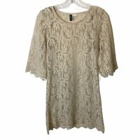 Divided By H&M Cream Floral Lace Shift Dress Lined Boho Short Sleeve Size 8
