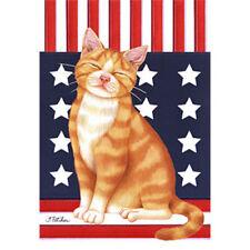 Orange Tabby Patriot Garden Flag