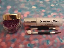 Purple Lip & eye glitter make up set incl. glitter, brush & body glue