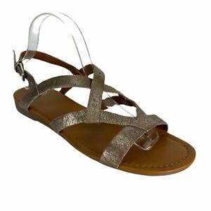 Franco Sarto Gearing Leather Metallic Slingback Sandals Boho Womens 10 NEW