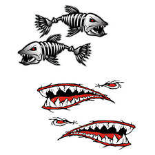 2Pcs Skeleton Fish Boat Decals + 2Pcs Big Shark Mouth Decals for Car Boat