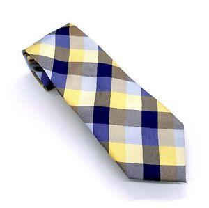 Tommy Hilfiger Tie Beautiful Blue Yellow Geometric Silk 59 x 3.25 China New