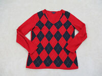 Tommy Hilfiger Shirt Womens Large Red Blue Long Sleeve V-Neck Casual Ladies