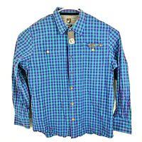 CAVI Mens Plaid Long Sleeve Button Up Dress Shirt Size 3XL Casual Gold Buttons