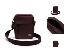 LACOSTE Small Verticle Body Bag NEOCROC Wine Canvas Shoulder Tablet Bags BNWT