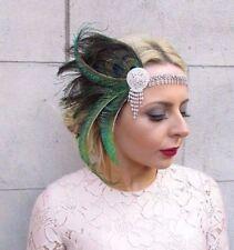 Green Silver Peacock Feather Headpiece 1920s Headband Flapper Fascinator 4246