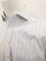 Charles Tyrwhitt 15/35 White Purple Blue Stripe Slim Fit French Cuff Dress Shirt