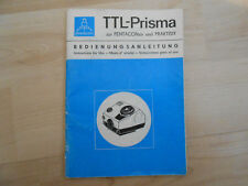 Gebrauchsanleitungen  Pentacon TTL-Prisma zur PENTACONsix und Praktisix