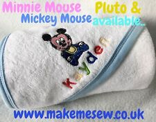 PERSONALISED BABY HOODED TOWEL NAME MICKEY PLUTO NEWBORN HOSPITAL BAG GIFT