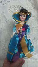 """Vintage 1950's 7 1/2"""" Dark Hair Queen Doll In Robe & Crown Sleepy Eyes"""