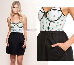 $210 Hype Lyn Cut Out Polka Dot Jade Bustier Style Dress 10