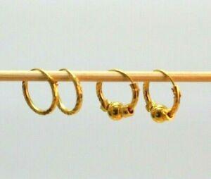 22K THAI BAHT BAHT DP GOLD ~  INTERCHANGEABLE BEAD DIAMOND CUT HOOP EARRINGS