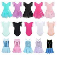 Girls Kids Tutu Ballet Dress Gymnastics Dance Leotard Sequined Costume Dancewear
