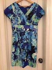 Rabbit Rabbit Rabbit Dress Blue Green Aqua Watercolor Print Knee Length Size 12