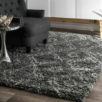 nuLOOM Contemporary Modern Geometric Plush Shag Area Rug in Grey