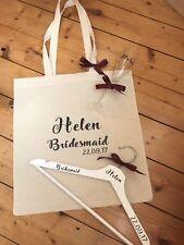 PERSONALISED TOTE BAG BUNDLE - PERSONALISED BRIDAL HANGER, CHAMPAGNE FLUTE, TOTE