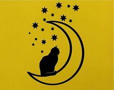 Cat Moon Stars Wall Art Home Adesivo Vinile Decalcomania ANIMALI PET DECOR