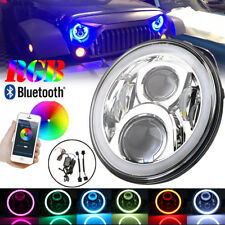 "7""LED Hi/Lo Headlight RGB Angel Eye Light Bluetooth App For Jeep Wrangler Hummer"