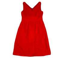 Sportscraft Women's Linen Blue A-Line Red Dress Size 10 Pockets & Fully Lined