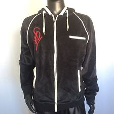 SPY Mens Black Velvet Style Hoodie Sweater Size Large Full Zip Fashion Coat L