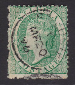St Lucia. 1863. SG 8, 6d emerald-green. Fine used. Cat £225.