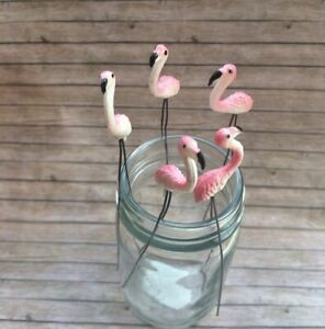 5 Pcs Pink Flamingo Bird Miniature Dollhouse Fairy Garden Accessories Terrarium