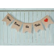 Wedding Decoration Here Comes the Bride Sign Burlap Linen Bunting Banner #H8