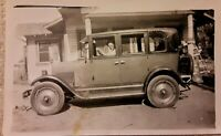 Vintage Old 1930's Photo of a Man BUD DAVIS Driving his Car Automobile