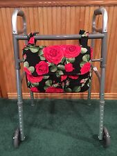 Walker Quilted Rose Floral  Purse/ Bag With Velcro Closure on Flap and Straps