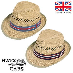 Straw Summer Trilby 100% Natural Straw Festival Holiday Mens Fedora Sun Hat