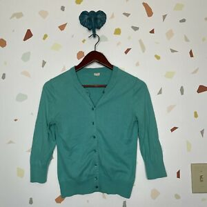 J Crew Small Teal Green 3/4 Sleeve Button Down Cotton Knit Cardigan Sweater