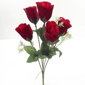 ARTIFICIAL SILK FLOWERS 5 HEAD RED FLOCK ROSE BUNCH Wedding Home Grave