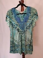 Live & Let Live women's size PL top green multicolor v-neck short sleeve beaded