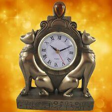 Tischuhr Uhr Katze Polystein BRONZE farbig H.23x17x7cm Kamin Uhr Zeitzeugin 1