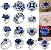 New 925 Silver Sapphire Gemstone Ring Wedding Women Men Date Party Jewelry Lot