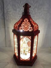 Beautiful Home For Holidays Red Light Up Lantern w Merchant Snowman Tackle Shop