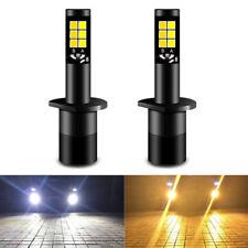 2Pcs 12V Car Auto LED Fog Light Bulb H1 20W 3000K White Yellow Dual Color Bright